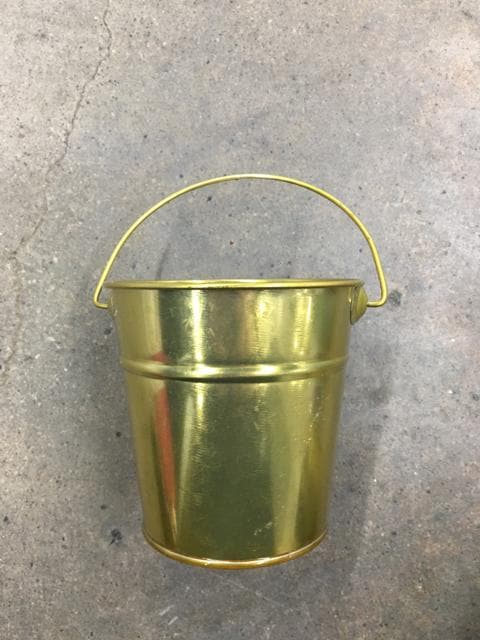 "Bucket Metal Gold Size 4"" CONTAINER"