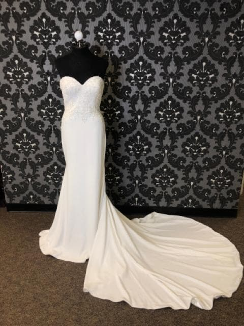 Justin Alexander JOSIE 88004 Women's Wedding Dress Crepe Ivory Size 10