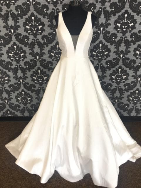 Justin Alexander JOLYNN Women's Wedding Dress Bengaline Ivory Size 8