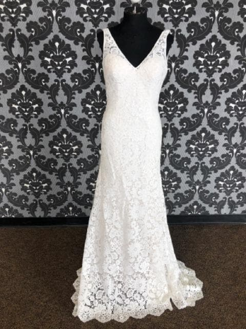 Justin Alexander 88017 JULIE Women's Wedding Dress Lace Ivory Size 12