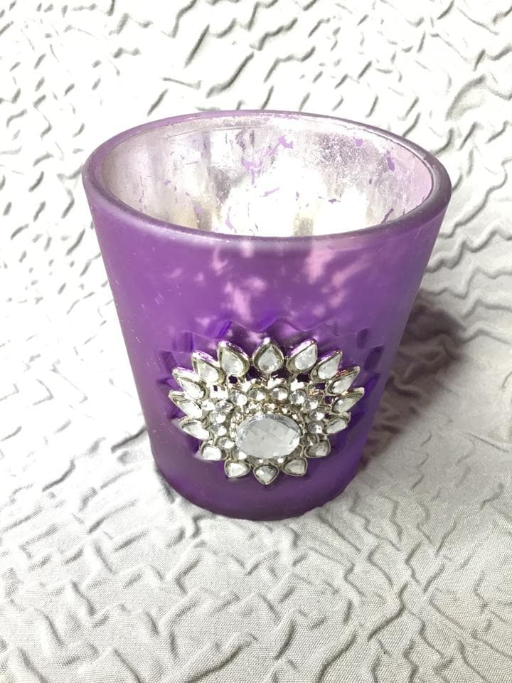 "Votive Holder Mercury Glass Purple Size 3"" CANDLES"