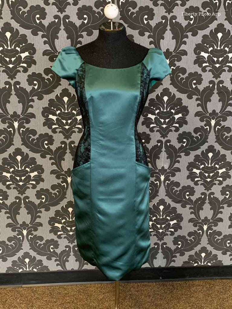 Jasmine M150017 Women's Formal Satin/Lace Emerald Size 8 Cocktail