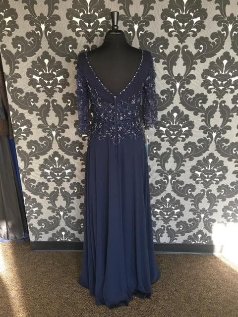 Size 10 Navy Montage Floor Tulle/Chiffon 3/4 Length FORMAL DRESSES