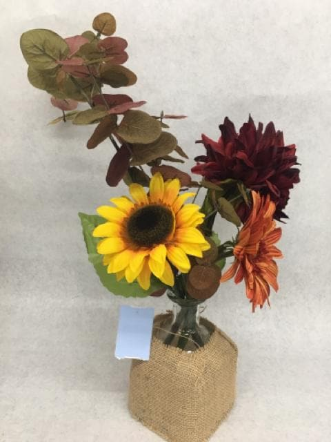 "20"" Fall Floral Arrangement in Burlap Wrapped Glass Vase"
