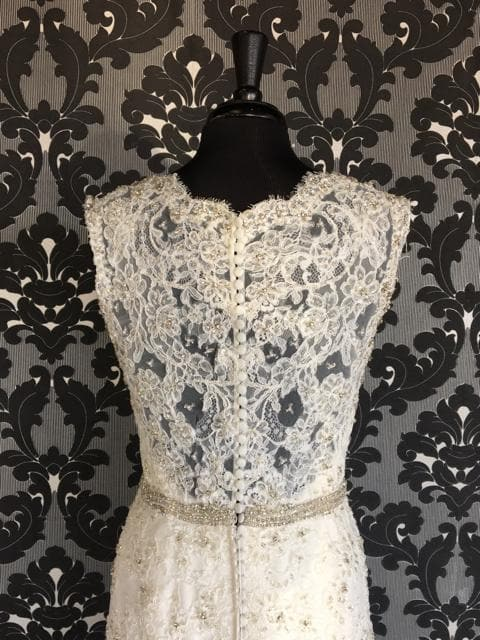 Jasmine Lace Ivory Size 12 Lace Fit & Flare V-Neck Women