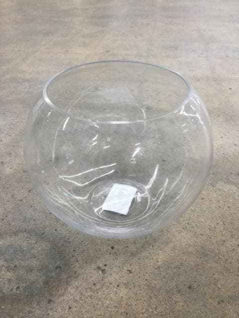 "Vase Glass Clear Size 8""x9"" Fishbowl VASES"