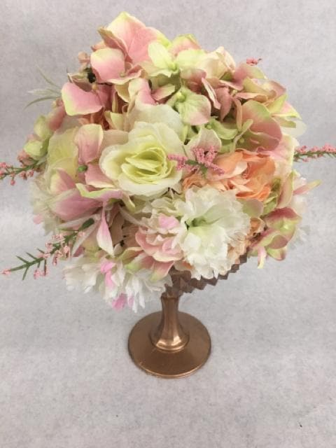 Centerpiece Floral/Glass Vase Rose Gold/Blush/Ivory CENTERPIECES
