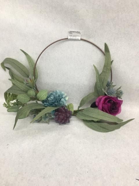 "Wreath Flowers/Greenery Blue/Purple/Green Size 16""x12"" FLORAL"