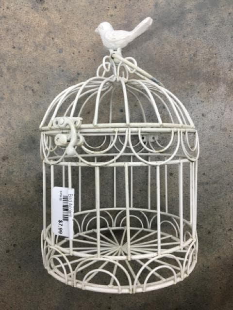 "Birdcage Metal White Size 9""x6"" LANTERNS/BIRDCAGES"