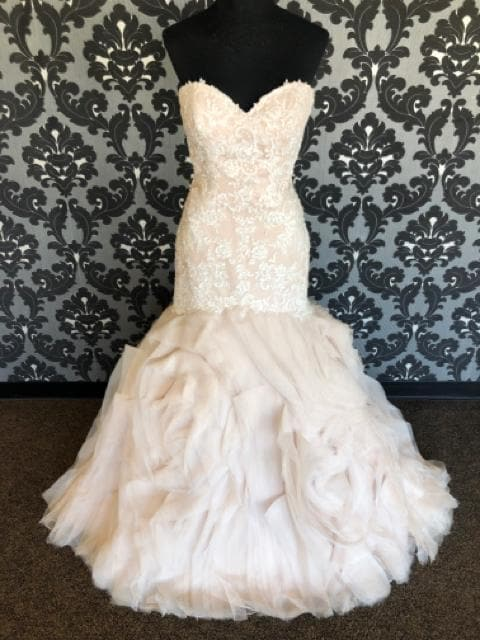 Stella York STORMY Women's Wedding Dress Lace Ivory/Champagne Size 14
