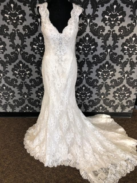 Kenneth Winston KANDACE 1621 Women's Wedding Dress Lace Ivory Size 12