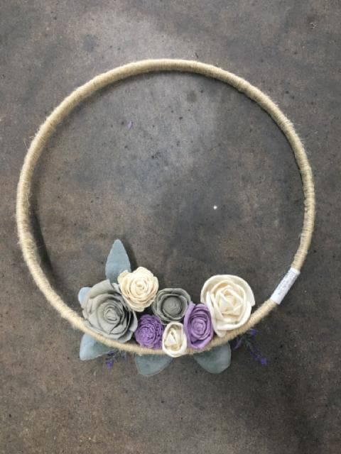 "Sola Flowers Wreath Jute/Floral Brown/Gray/Purple/Ivory/Silver Size 15"" FLORAL"
