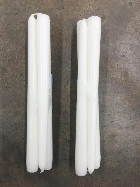 "4ct 10"" Ivory Wax Taper Candles"