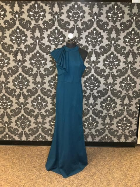 Lulus Women Formal Stretch Teal Size XL Shoulder Ruffle