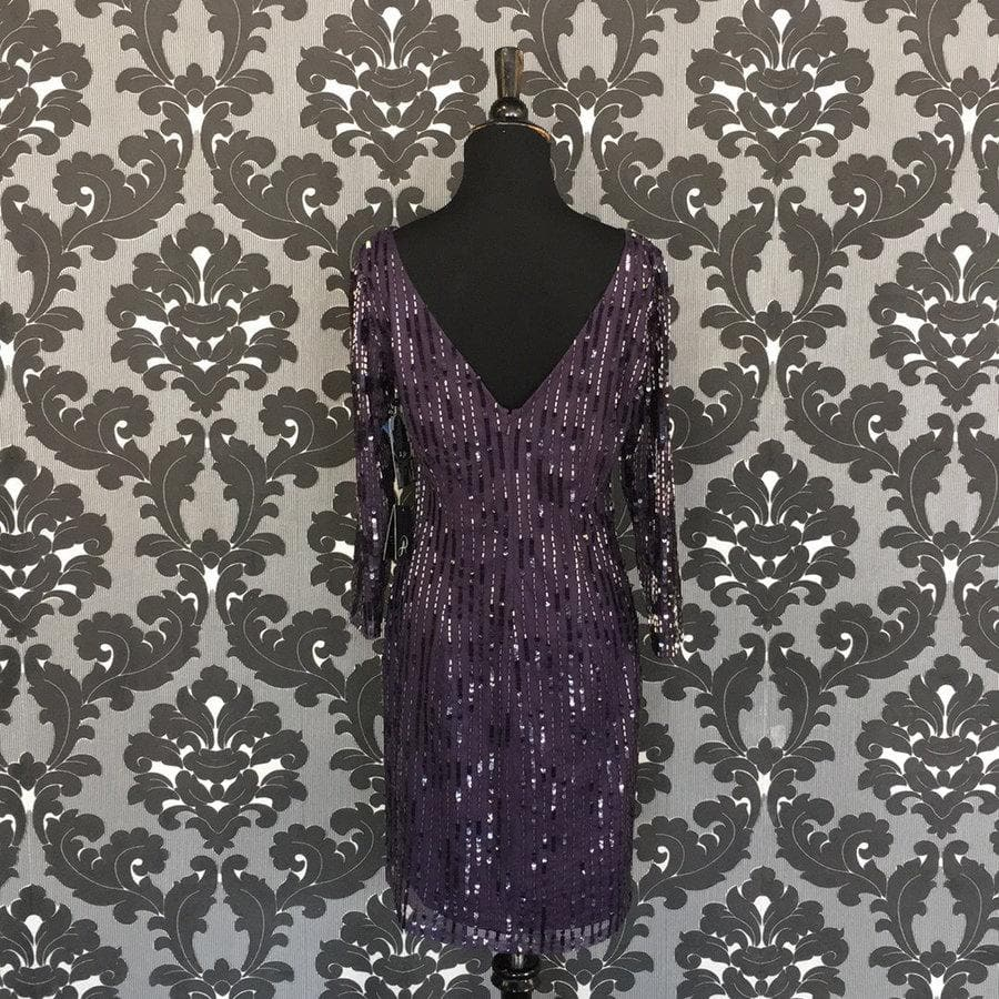 Size 6 Purple Eggplant Adrianna Papell Cocktail Sequin