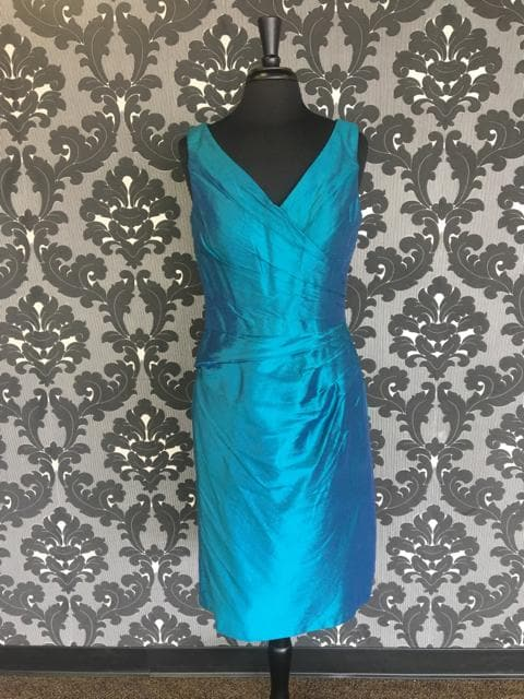 Size 10 Peacock Sarah Danielle Evenings Cocktail Silk Sleeveless