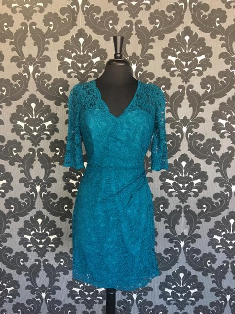 Size 10 Teal Belsoie L174022 Cocktail Lace 3/4 Length