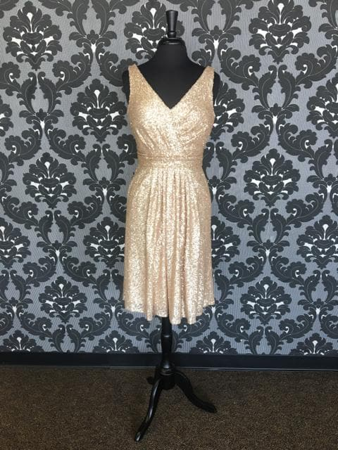 Size 12 Gold Sorella Vita 8685 Cocktail Sequin Sleeveless