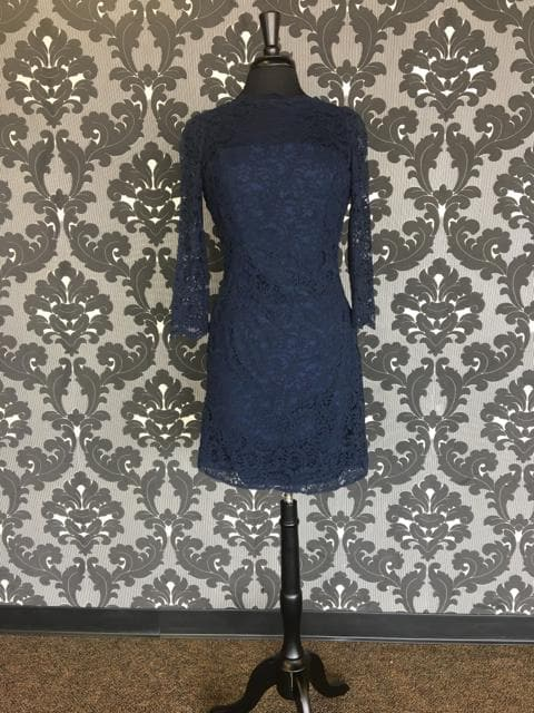 Size 12 Navy Belsoie L164072 Cocktail Lace 3/4 Length