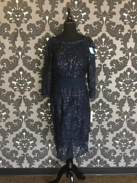Size 12 Navy Social Occasions Cocktail Lace 3/4 Length FORMAL DRESSES