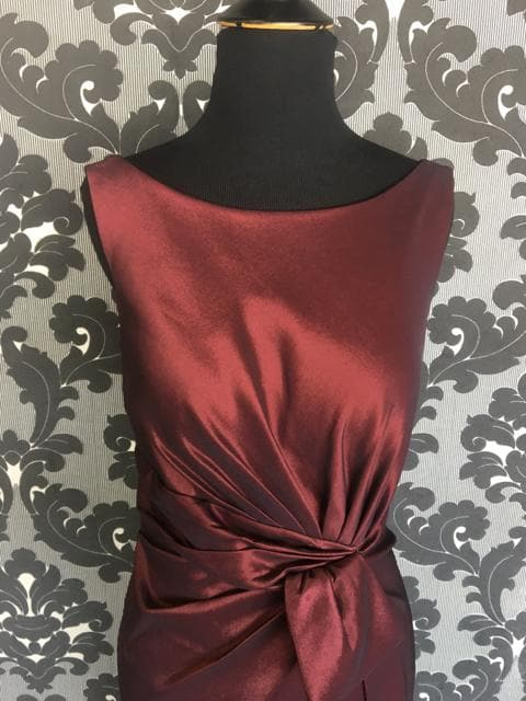 Size 14 Wine Social Occasions Cocktail Taffeta Sleeveless FORMAL DRESSES