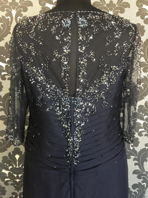 Size 16 Navy Montage 213967 Floor Chiffon 3/4 Length