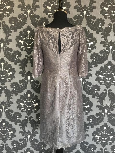 Size 4 Pewter Social Occasions Cocktail Lace 3/4 Length FORMAL DRESSES