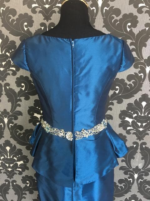 Size 6 Royal Blue Rina Di Montella Cocktail Taffeta Cap Sleeve FORMAL DRESSES