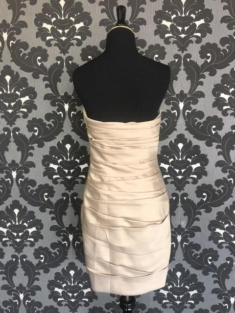 Size 8 Champagne LAFEMME Cocktail Satin Strapless FORMAL DRESSES