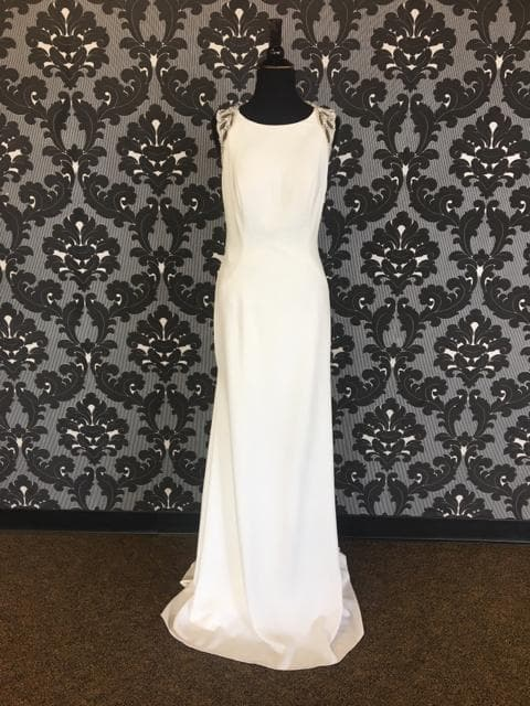 Size 8 Ivory Pronovias Jersey Highneck Sheath WEDDING DRESSES