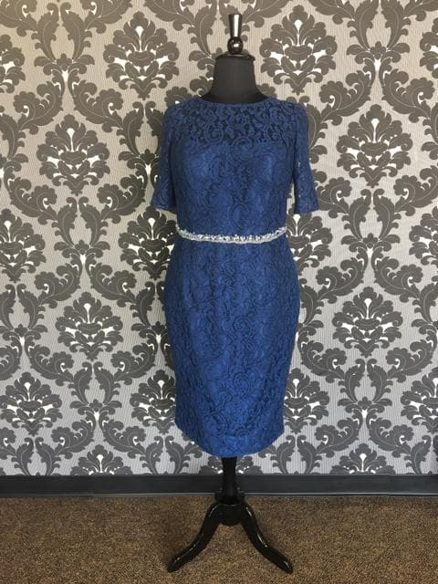 Size 8 Navy Social Occasions Cocktail Lace Short Sleeve
