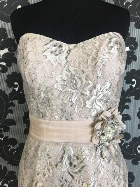 Size 8 Oyster Social Occasions Cocktail Lace Strapless