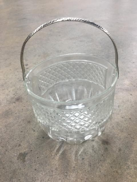 "Bucket Glass/Metal clear/silver Size 5.25""x5.75"" CONTAINER"