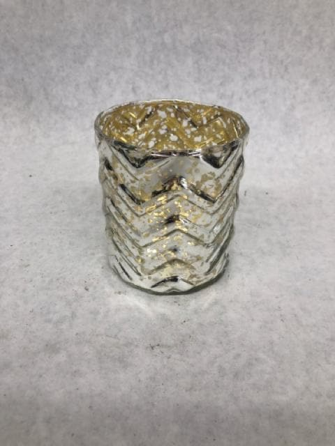 "Candle Holder Mercury Glass gold/silver Size 3.5""x3"" CANDLES"