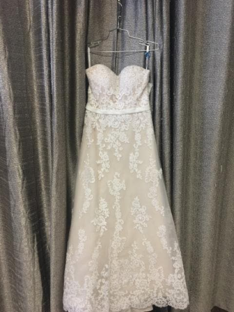 Mori Lee Tulle & Lace ivory champagne Size 8 Strapless A-line WEDDING DRESSES