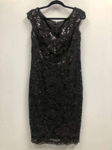 Size 8 Black Jasmine Sequin/Lace Cocktail Sleeveless