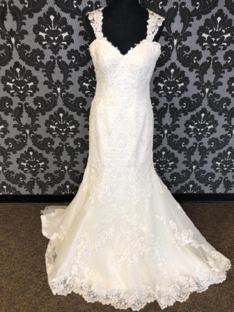 Stella York SKYE 6146 Women's Wedding Dress Lace Ivory Size 12 Sheath