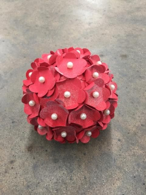 "Flower Ball Foam/Paper Red Size 4"" FLORAL"