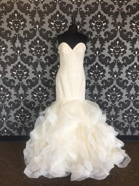 Size 14 Champagne Allure Romance Lace Strapless Mermaid Sweetheart