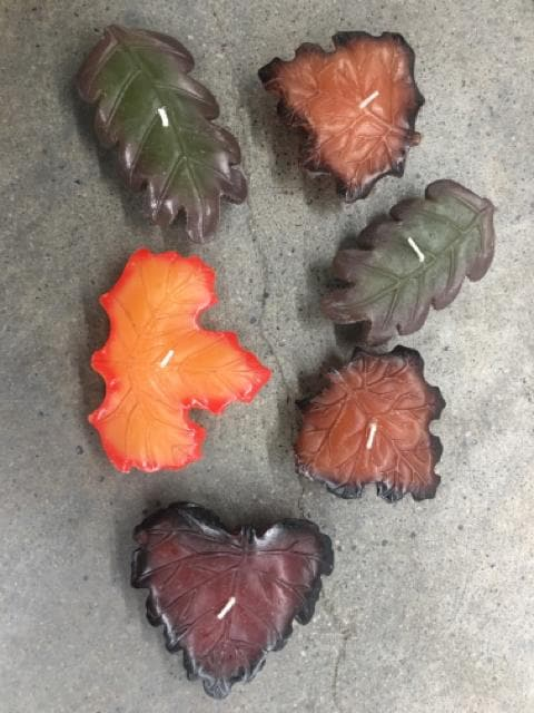 6ct Leaf Shape Wax Floating Candles
