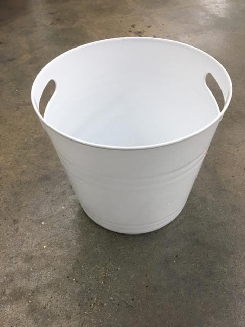 "8.5""x9.5"" White Plastic Bucket"