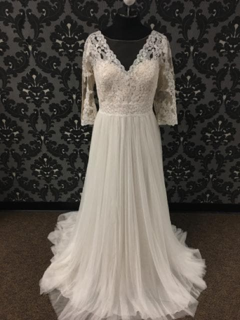 modeca Women's Wedding Dress Tulle & Lace Ivory/Champagne A-line