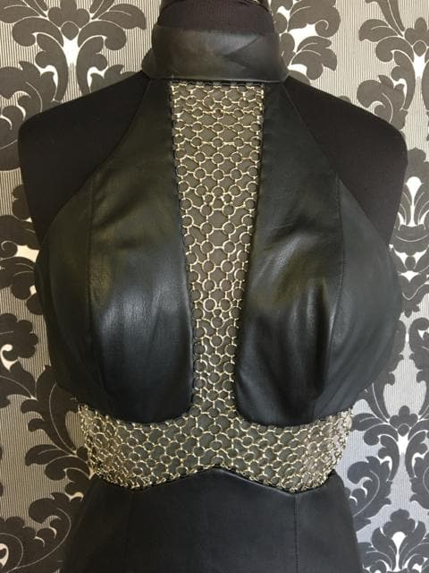 Size 4 Black LAFEMME Leather Sheath Chain Bodice Highneck