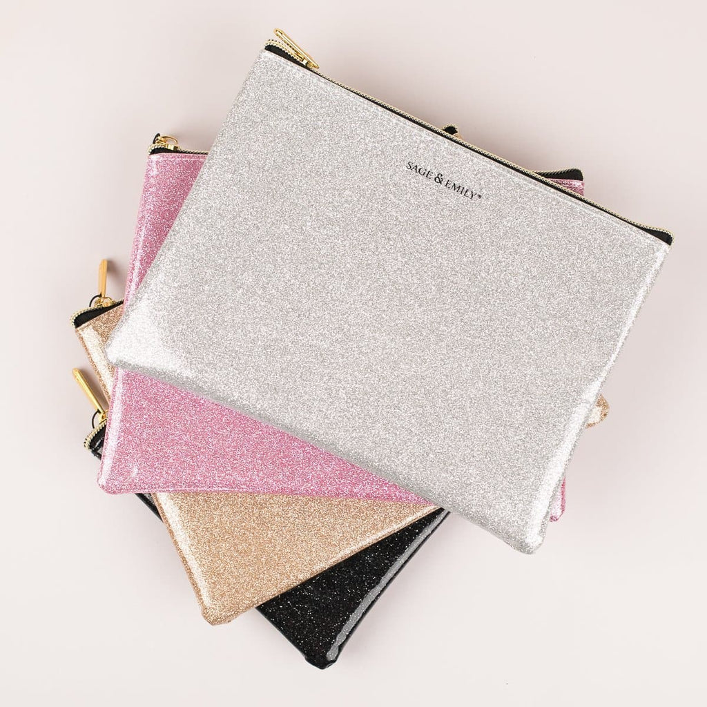 Sage & Emily Metallic Glitter Cosmetic Pouch