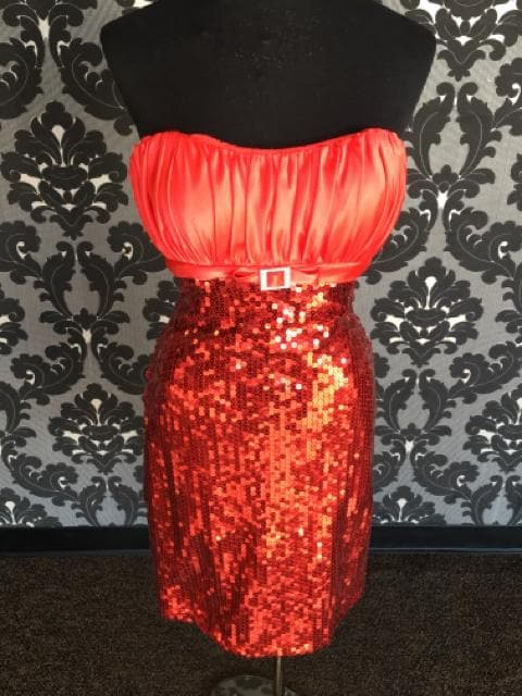 Precious Formals 20511 Women's Formal Satin/Sequin Red Size 10