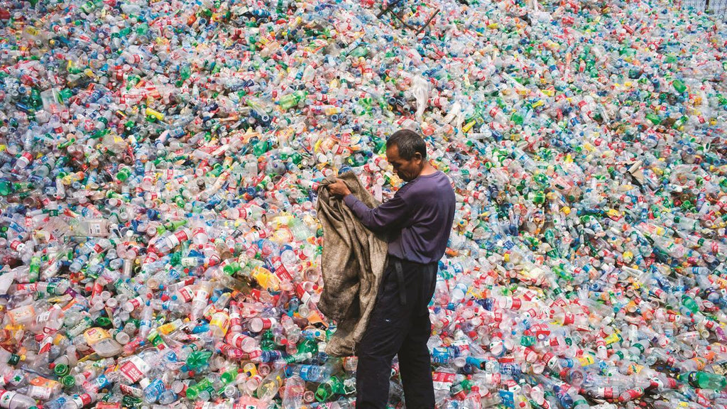 Plastic recycling collecting plastic bottles