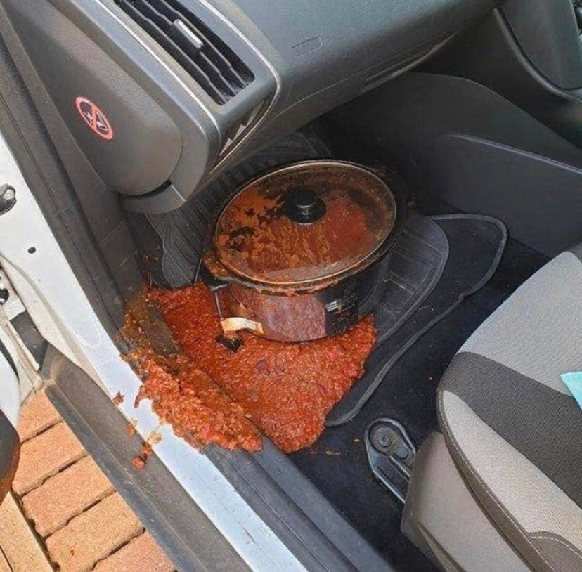 Spilled spaghetti Bolognese in a car Failure