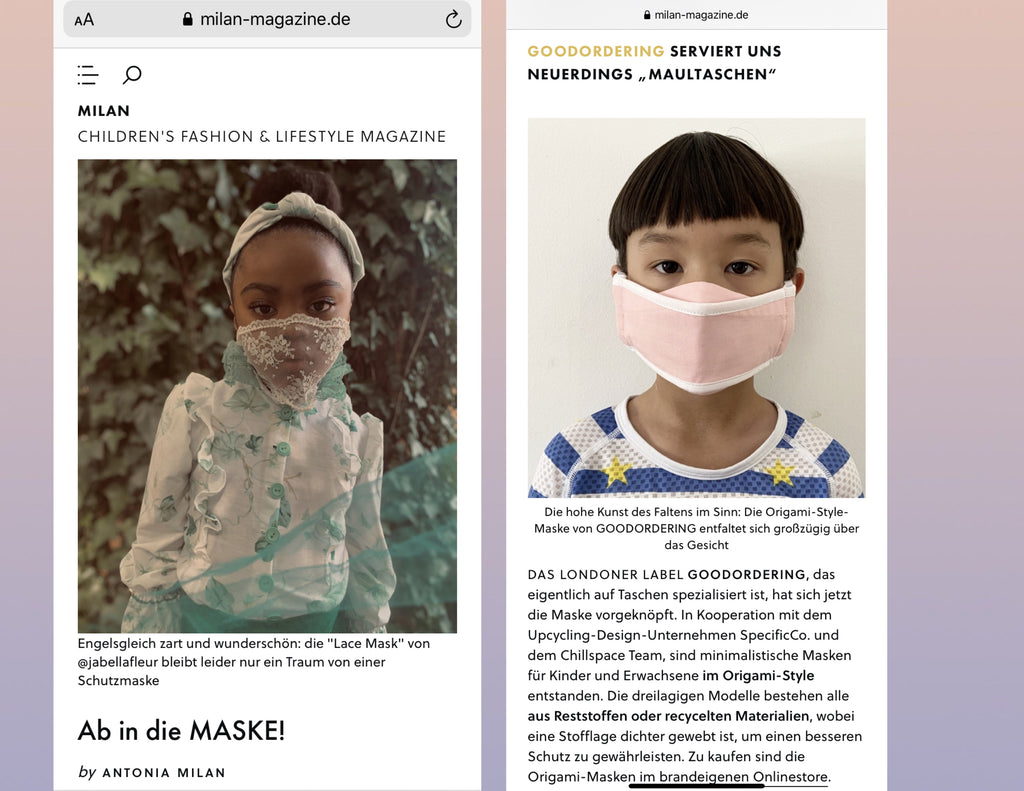 Goodordering mask press Milan magazine