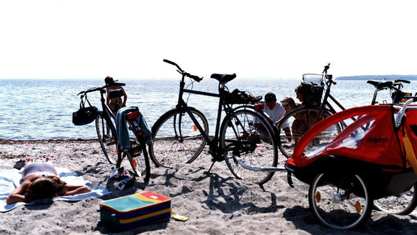 Adventure cycling holiday in Denmark beach and bicycles