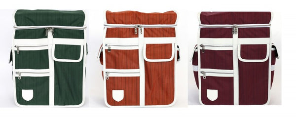 Goodordering bicycle panniers in 3 different colours, maroon, green and orange